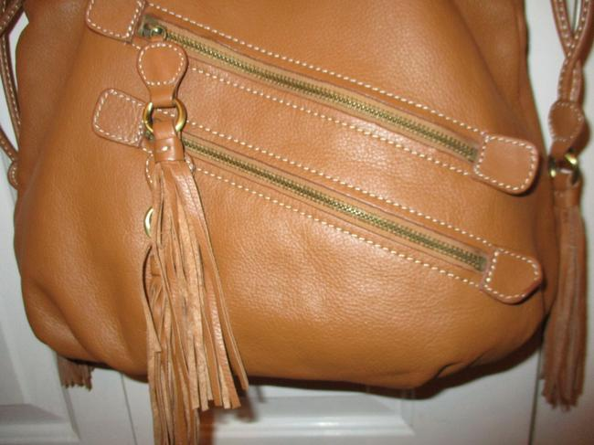 a.n.a. a new approach Shoulder Tan Leather with Vinyl Trim Hobo Bag a.n.a. a new approach Shoulder Tan Leather with Vinyl Trim Hobo Bag Image 11