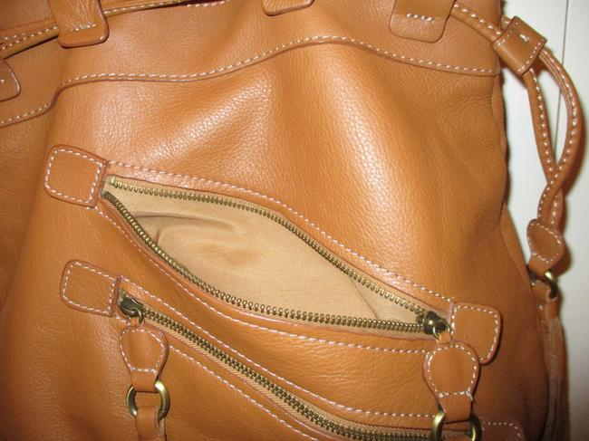 a.n.a. a new approach Shoulder Tan Leather with Vinyl Trim Hobo Bag a.n.a. a new approach Shoulder Tan Leather with Vinyl Trim Hobo Bag Image 12