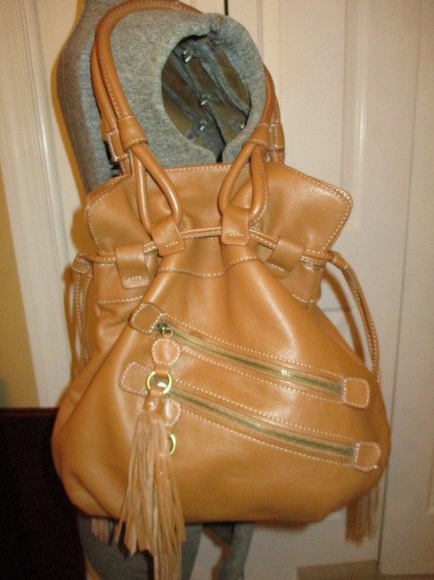 a.n.a. a new approach Shoulder Tan Leather with Vinyl Trim Hobo Bag a.n.a. a new approach Shoulder Tan Leather with Vinyl Trim Hobo Bag Image 6