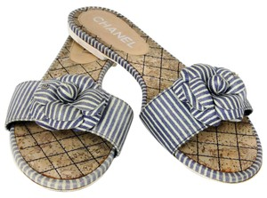 Chanel Le Boy Caviar 2.55 Espadrille Cc Blue Sandals