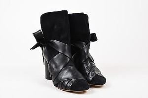 Isabel Marant Suede Leather Wrap Azel Heeled Black Boots