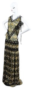 Black, Gold, White, Metallic Blue, Gray Maxi Dress by Wes Gordon Black Gold Lace
