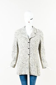 Chanel 99a Multi Wool Metallic Tweed Logo Clip Long Sleeve Pea Coat