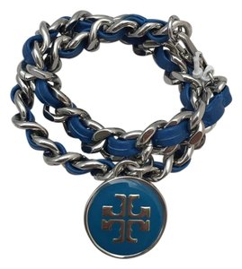 Tory Burch New Tory Burch Leather/Silver Chain Logo Double Wrap Bracelet Blue