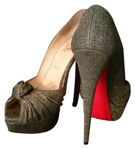 Christian Louboutin Peep Toe Glitter Gold Black Pumps