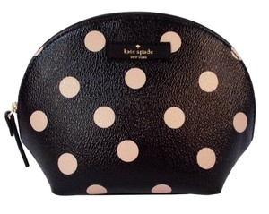 Kate Spade Keri Wellesley Polka Dots Cosmetic Case Bag Pouch NWT Black Beige