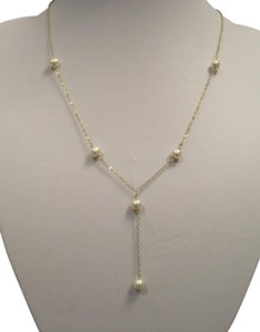 Other 6 mm White Six Pearl Tin Cup One Lariat Drop Necklace, 14 KT YG