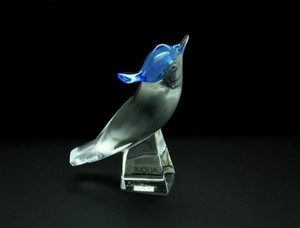 Lalique France Crystal Pilmico Blue Head Up Bird Sculpture