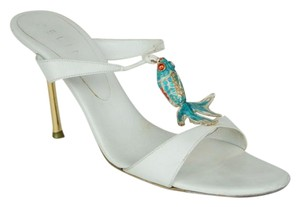 Céline Enamel Fish Strappy Gold WHITE WITH TURQUOISE Sandals