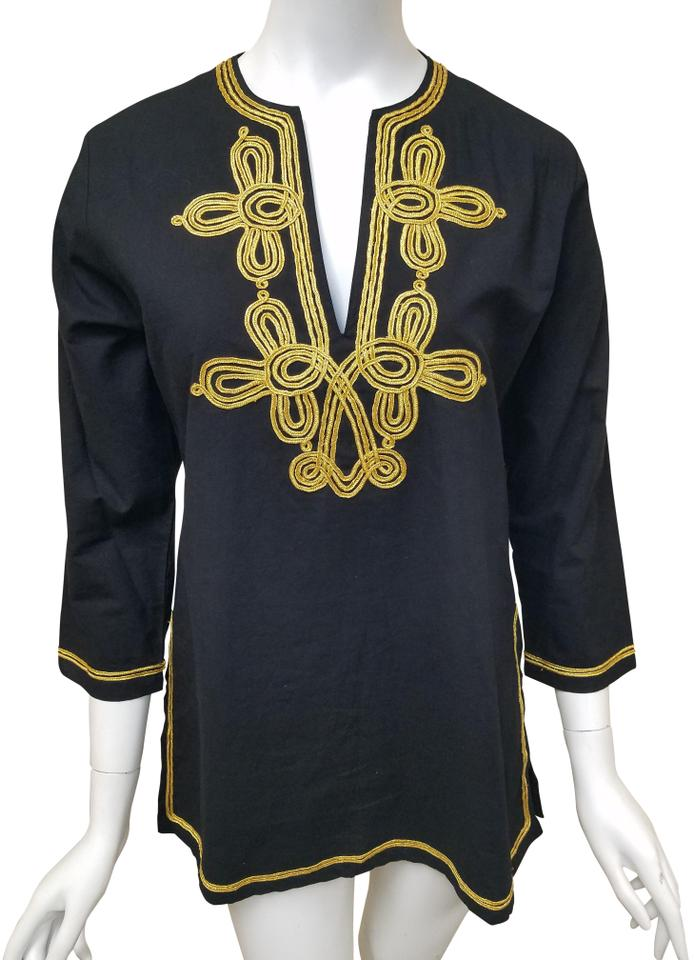 83b5c05d Gretchen Scott Black and Gold Linen with Small Tunic Size 6 (S ...
