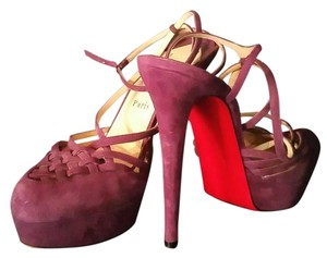 Christian Louboutin Suede Strappy Limited Edition Purple Pumps
