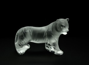 Lalique France Crystal Bengal Tiger Sculpture New With Box