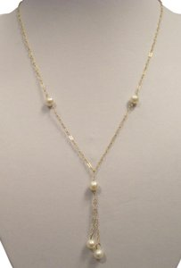 Other 6 mm White Five Pearl Tin Cup Two Lariat Drop Necklace, 14 KT YG