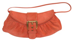 Céline Coral Orange Suede Leather Buckle Baguette