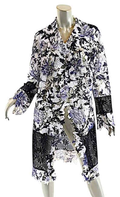 Item - Black & White London Black/White Floral Lace Duster Coat Cardigan Size OS (one size)