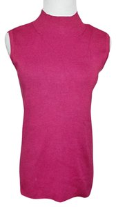 Kim Rogers Sleeveless Shell Mock Turtleneck Size Small New Top Raspberry Fuchsia Deep Pinnk