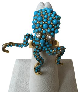 Kenneth Jay Lane KENNETH JAY LANE GOLD OCTOPUS RING WITH TURQUOISE & RHINESTONE EYES