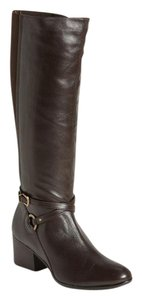 Vaneli Leather Knee High Tall Brown Boots