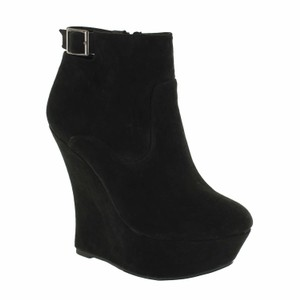 Red Circle Footwear High Platform Bootie Sexy Black Wedges
