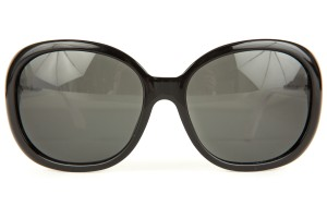 Chanel Black Large Frame Sunglasses With White Sides
