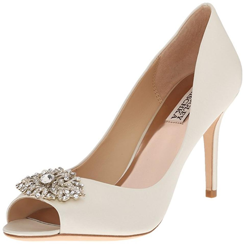 b6f24bb30659 Badgley Mischka Ivory Accent Peep Toe Crystal Detail Pumps Size US 7 ...