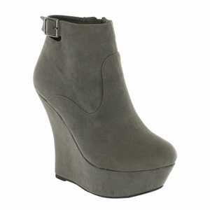 Red Circle Footwear High Wedge Platform Bootie Grey Wedges