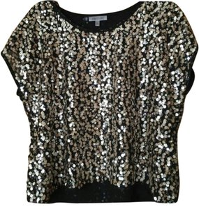 Jennifer Lopez Sequin Date Night Holiday Top Gold/Silver