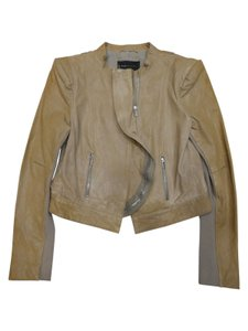 BCBGMAXAZRIA Leather Tan Leather Jacket