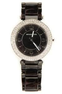 Michael Kors Gunmetal Link Crystal Edged Watch