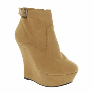 Red Circle Footwear High Platform Bootie Sexy Tan Wedges