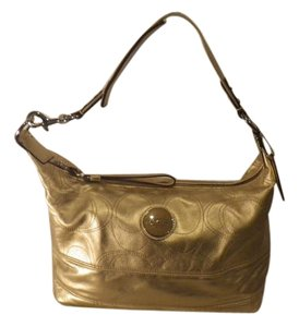 Coach Gold Metalic Leather Shoulder Bag