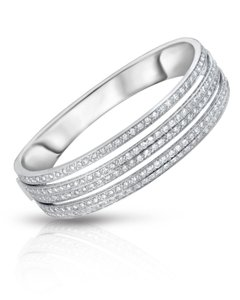 14K White Gold Diamond Pave Hinged Bangle Bracelet Size 6.75 47.80G