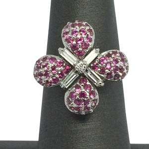 14K White Gold Natural Ruby and Diamond 4 Leaves Ring