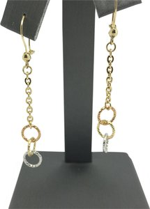 14K Tri-Tone Gold Diamond Cut Circles Danlging Earrings