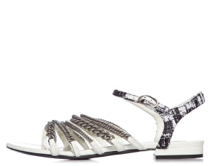 Chanel Black White Silver Sandals
