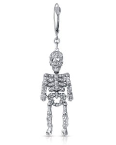 Other 14K White Gold Skeleton Diamond Drop Single Earring 4.4g. 0.75ctw