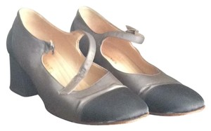 Chanel Mary Janes Grey with Black Toe, Heel, Strap Pumps