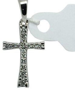 Other 14K White Gold Small Natural Diamond Cross Pendant