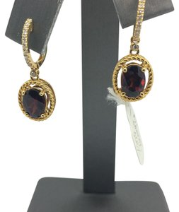 14K Yellow Gold Natural Diamond and Garnet Dangle Earrings