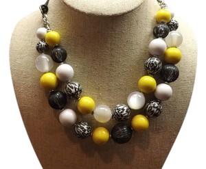 Large Bead Necklace Nice Doubled Stranded Black, Yellow, and White Necklace!