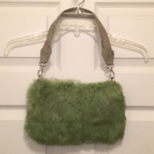 Besson Fur Leather Clutch Shoulder Bag