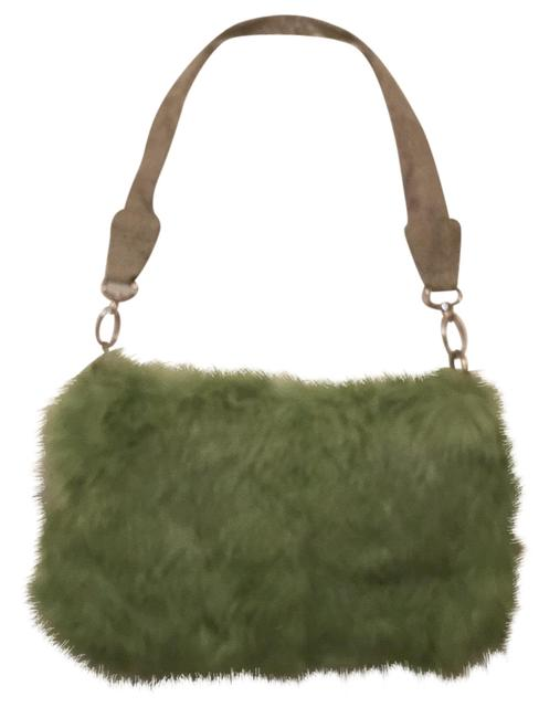 Item - W Rabbit W/Lizard Leather Green Fur Shoulder Bag