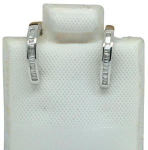 14K White Gold Natural Baguette Diamond Huggie Hoop Earrings