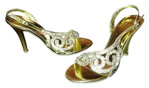 CEL Crystal Gold Sandal Wedding gold/silver Formal