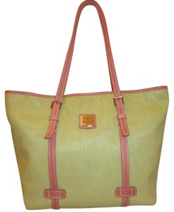 Dooney & Bourke Refurbished X-lg Tote in Green and Pink