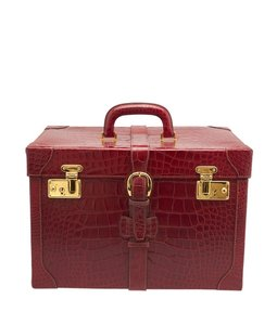 Gucci Vintage Alligator Red Travel Bag