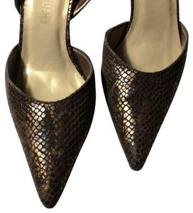 Colin Stuart Size 5 Heels Low Heel Bronze Leather Designer Bronze brown Pumps