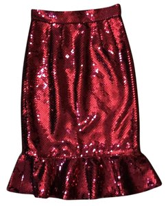 Dolce&Gabbana Pencil Sequin Formal Party Fluted Skirt Bordeaux
