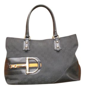 Gucci Hasler Leather Tote in Black