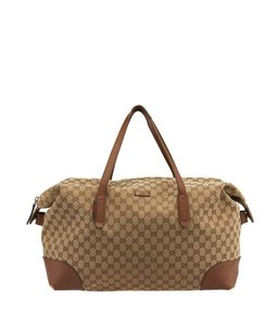 Gucci Tan Gg Canvas Leather Brown Travel Bag